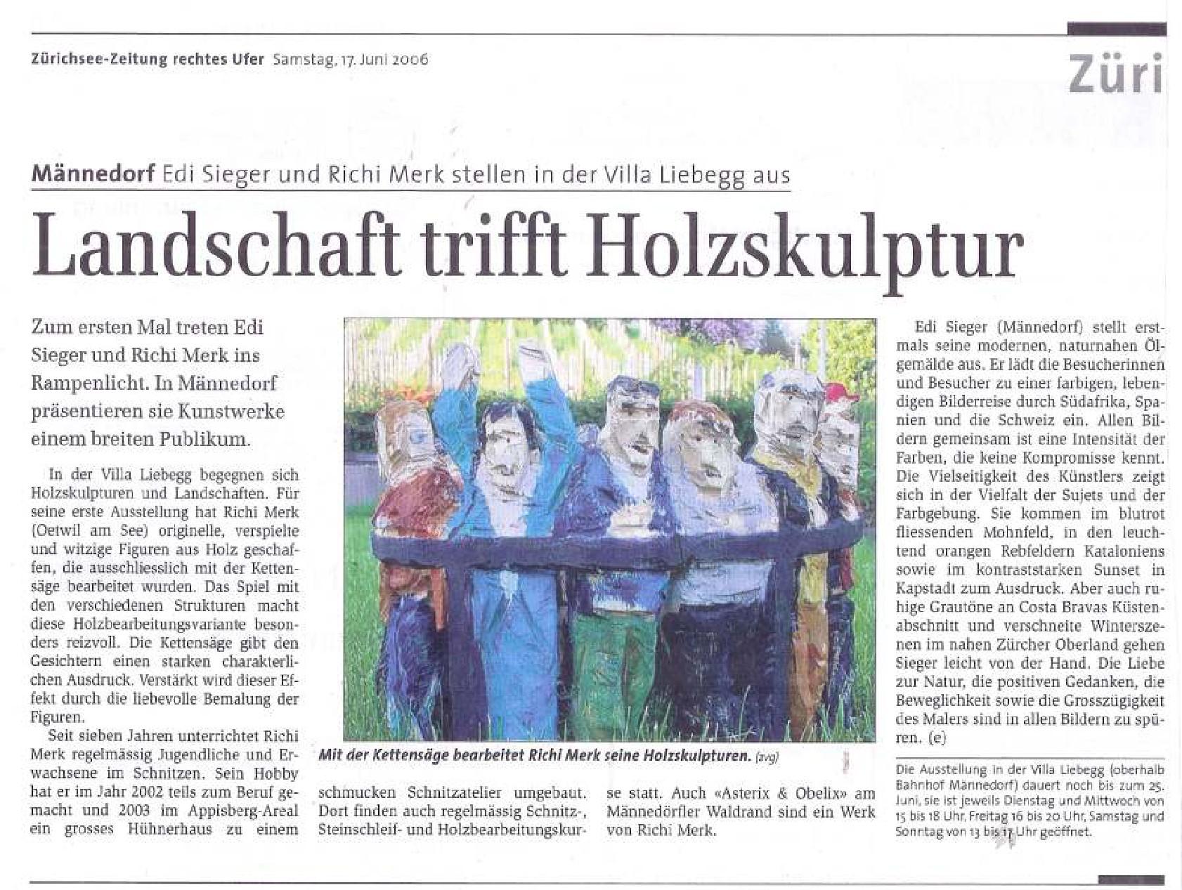 Zürichsee-Zeitung 17. Juni 2006