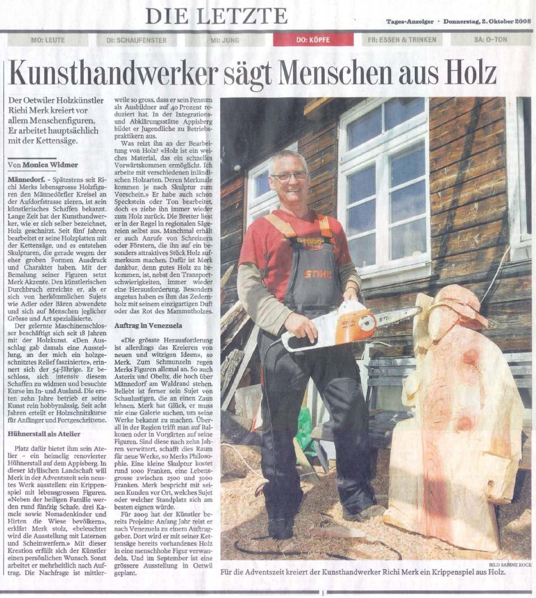 Tages-Anzeiger 2. Oktober 2008