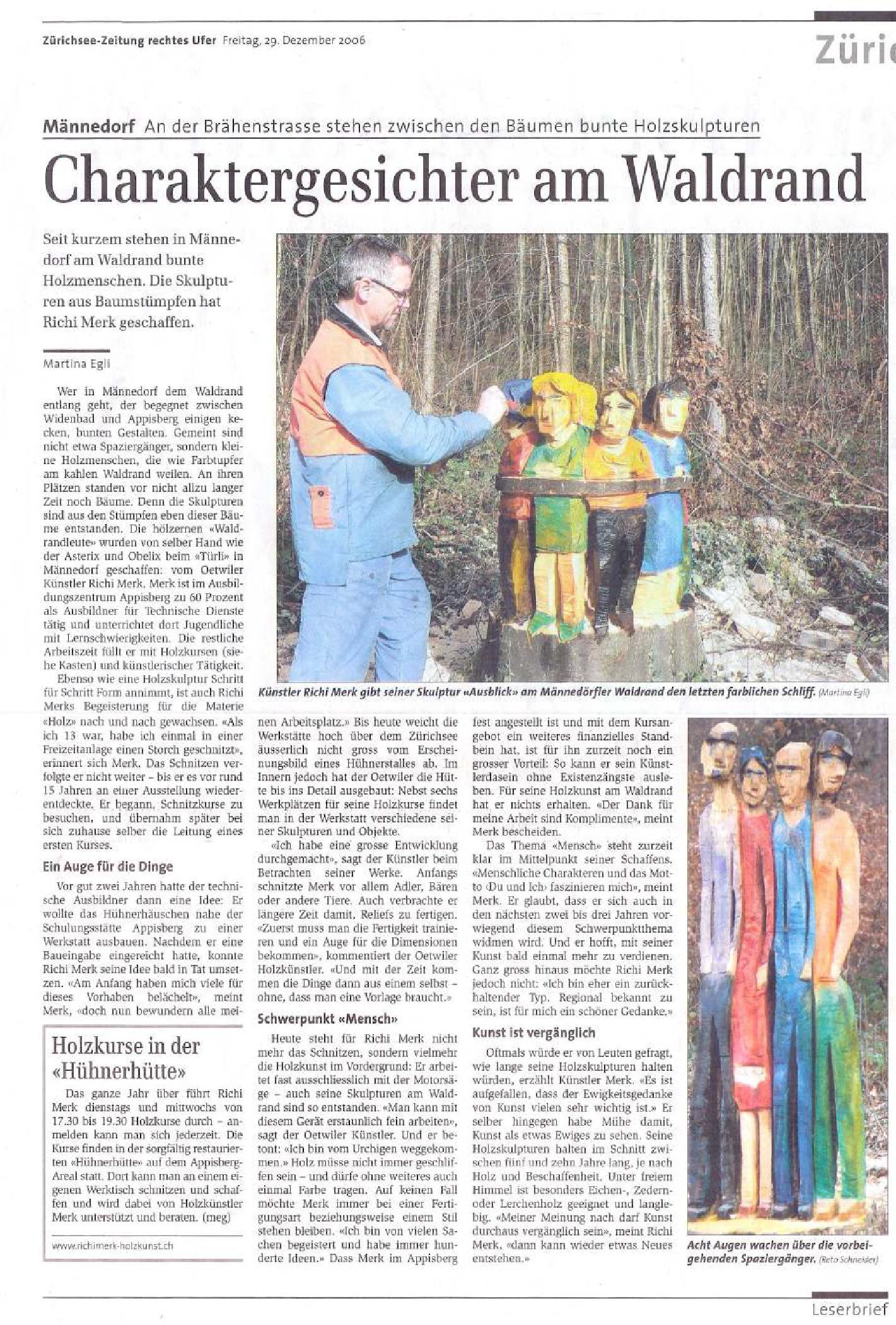Zürichsee-Zeitung 29. Dezember 2006